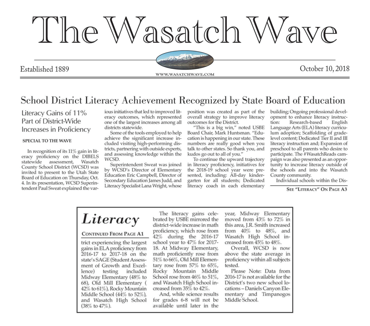Wasatch Wave Literacy Article