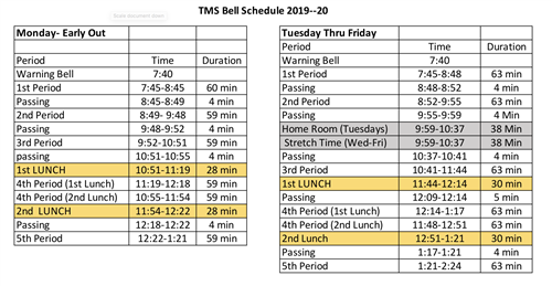 TMS Bell Schedule