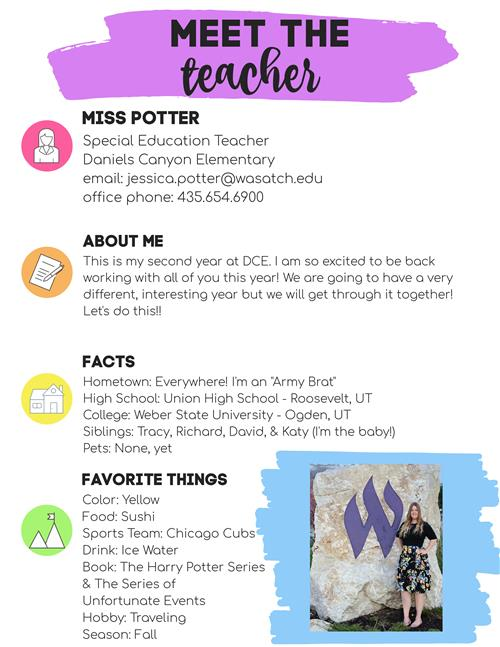 meet the teacher - Miss Potter