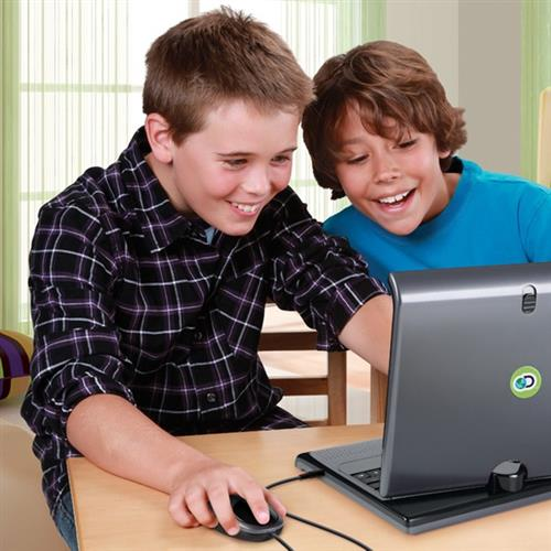 Two boys working on laptop